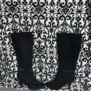 ALFANI TOSHA Black Suede Heel Knee High Boots SZ 9